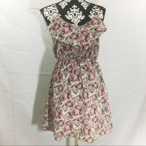 Alya Pink and Cream Floral Sleeveless Dress
